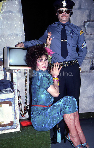 Holly Woodlawn performing in the Off Broadway Show 'THE GAME SHOW' on May 1, 1982 in Greenwich Village, New York City.
